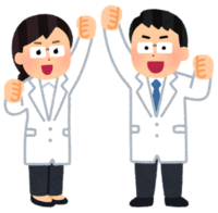 two doctors raise thier arms